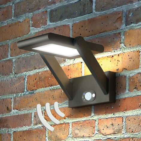 """main image of """"Solar Lights with Sensor 'Valerian' with motion detector (modern) in Black made of Aluminium (1 light source,) from Lucande"""""""