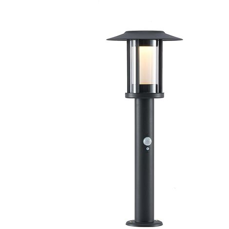 Solar Lights with Sensor 'Volki' (modern) in Black made of Stainless Steel (1 light source, A+) from Lindby
