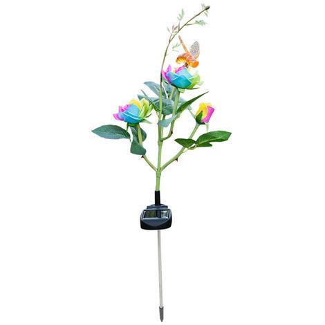 Solar luces LED Rose de la flor de abeja en forma de estaca de jardin Iluminacion Camino Calzada del cesped patio trasero impermeable de la iluminacion LED Solar Powered lampara del paisaje