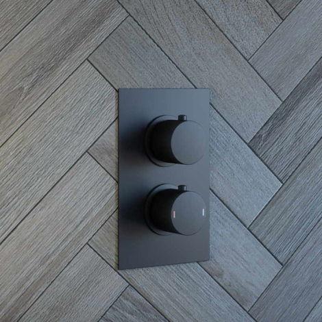 Solar Matt Black Mixer Shower Valve 1 Way Round Concealed Thermostatic