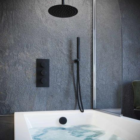 Solar Matt Black Concealed Bath Filler Shower Pack Ceiling Head Kit