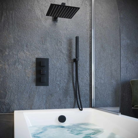 Solar Matt Black Concealed Bath Filler Shower Pack Overhead Head Kit