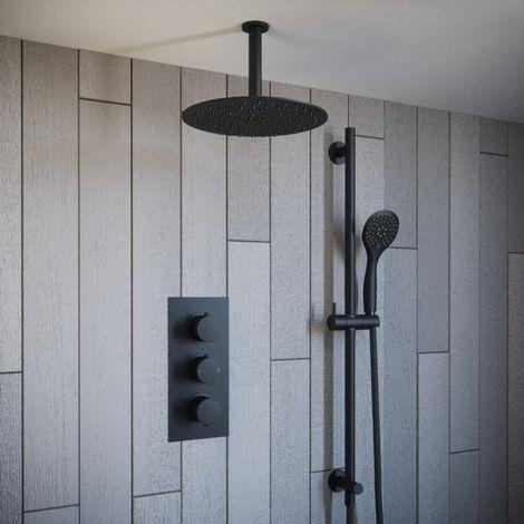 Solar Matt Black Concealed Mixer Shower Kit Ceiling Head and Rail