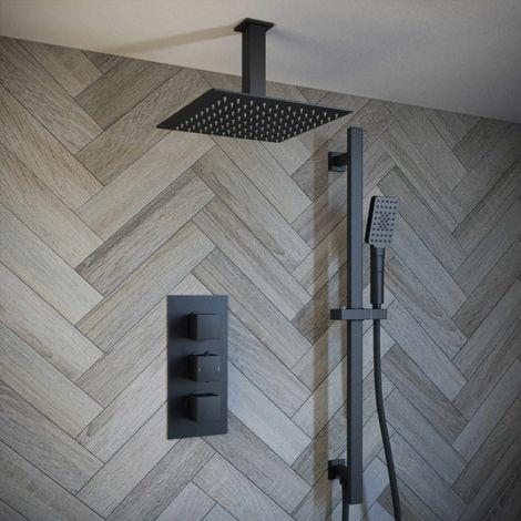 Solar Matt Black Concealed Mixer Shower Square Ceiling Head Rail Kit