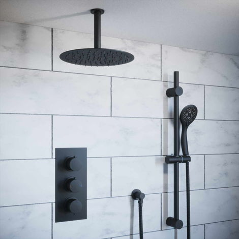 Solar Matt Black Round 2 Way Concealed Shower Pack - Ceiling Head and Rail