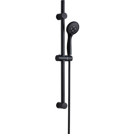 Solar Matt Black Round Adjustable Shower Riser Rail and Handheld