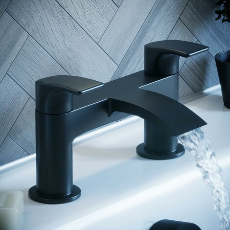 Solar Matt Black Round Deck Mounted Bath Filler Tap