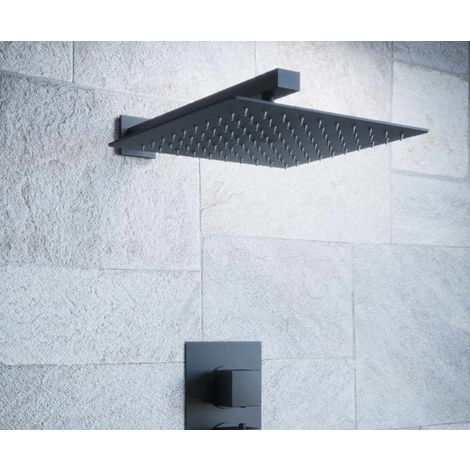 Solar Matt Black Shower Head 250mm Ultra Slim Square