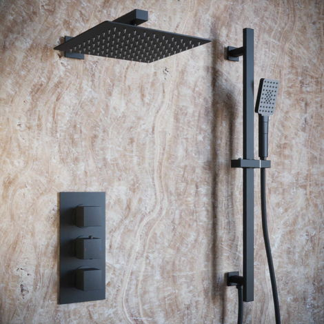 Solar Matt Black Shower Pack - Concealed Valve Square Head and Rail