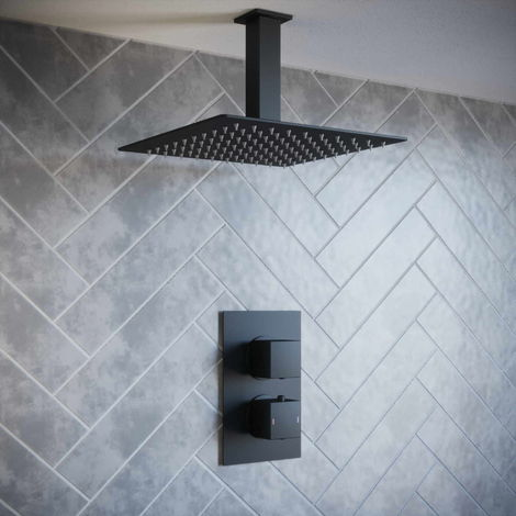 Solar Matt Black Square 1 Way Concealed Shower Pack with Ceiling Head