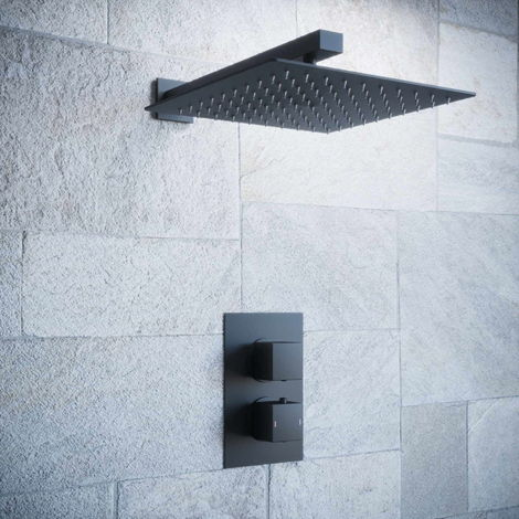 Solar Matt Black Square 1 Way Concealed Shower with Overhead Shower