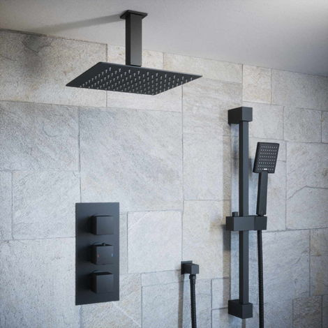 Solar Matt Black Square 2 Way Concealed Shower Pack - Ceiling Head and Rail