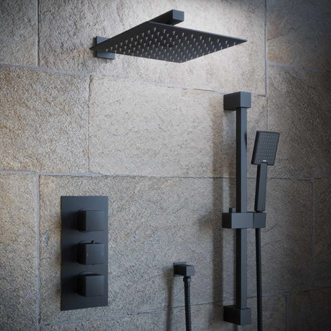 Solar Matt Black Square 2 Way Concealed Shower with Overhead and Rail