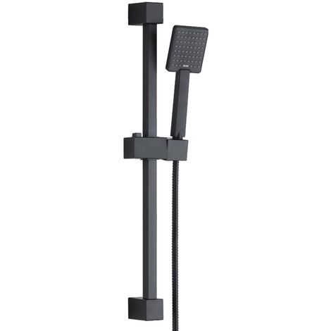 Solar Matt Black Square Shower Riser Rail and Handheld