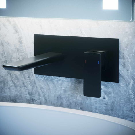 Solar Matt Black Square Wall Mounted Basin Mixer Tap
