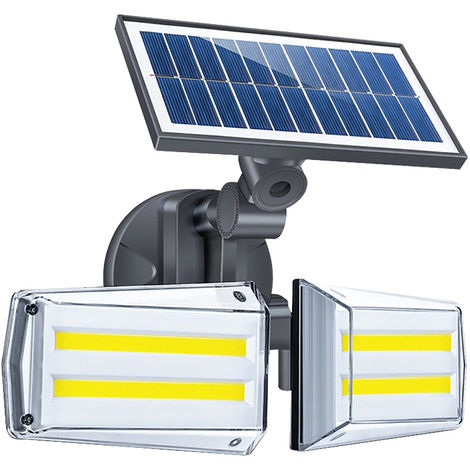 Solar Microwave Radar Wall Lamp Human Body Induction Double Head Rotatable Home Garden Waterproof Solar Street Light 80COB