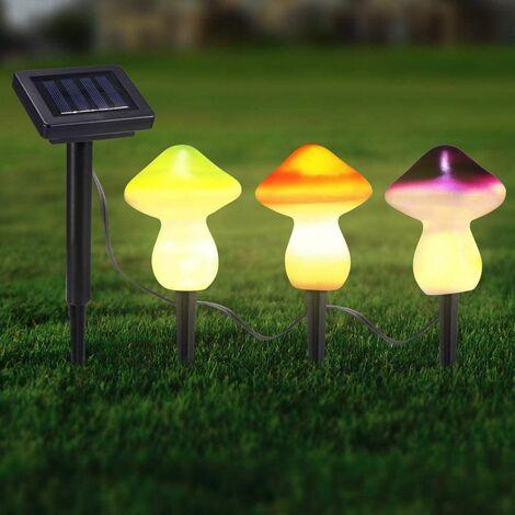 Solar Mushroom Light, Solar Garden Outdoor Decorative String Lights, Set of 3 Solar Picket Lights 9leds Patio Yard Art Decor Lawn Ornaments (3PCS Color)