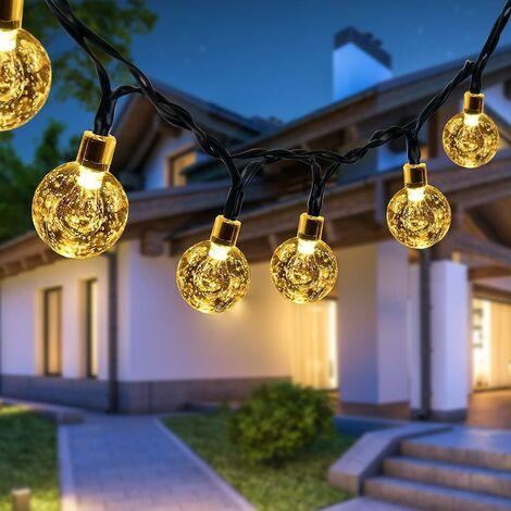 """main image of """"Solar Outdoor Fairy Lights, 50 LED Crystal Balls IP65 Waterproof, 7M String Lights, 8 Indoor and Outdoor Decorative Light Modes, For Garden, Terrace, Courtyard SOEKAVIA"""""""