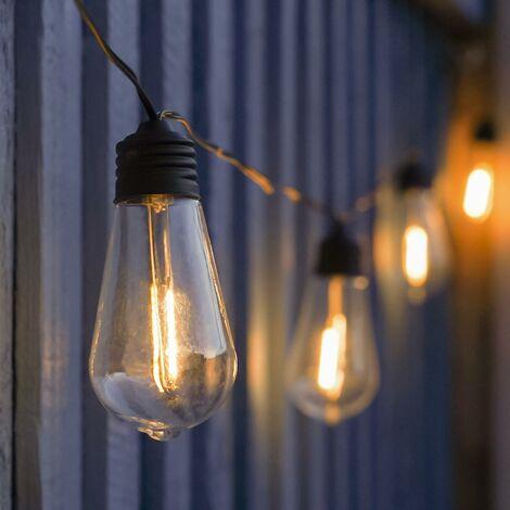 Solar Outdoor Garden Filament Effect Festoon Fairy Lights, Warm White LEDs, 3.9m