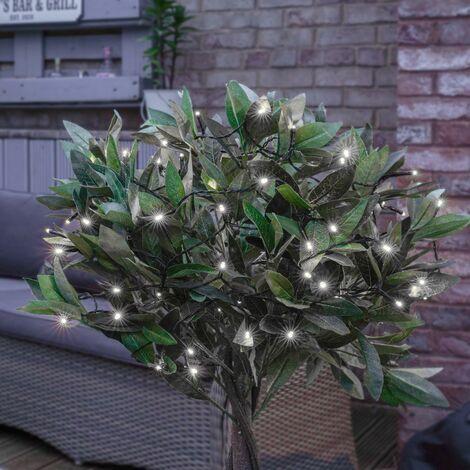 Solar Outdoor Garden Multi Function Fairy String Lights, 50 White LEDs, 5m