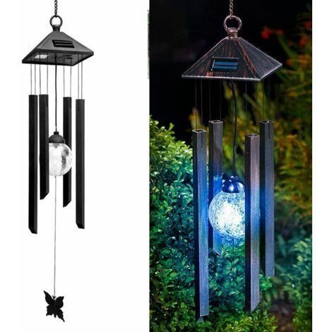 Solar outdoor landscape garden light balcony decoration chandelier hanging light LED colorful wind chime lamp