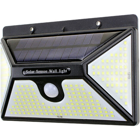 "main image of ""Solar Outdoor Lights 218 LED Bulbs IP65 Waterproof Wall-Mounted Lamp with Motion Sensor Energy Saving Versatile,model:Black"""