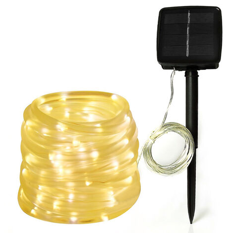 Solar Outdoor Rope Lights 100 LEDs Clear String Light 32.8 feet Waterproof Frost Resistance Warm White