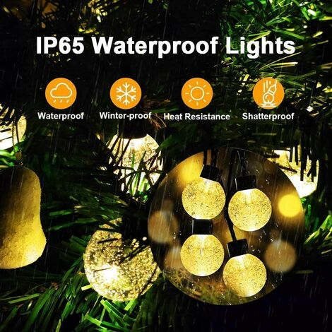 Solar Outdoor String Lights Crystal Globe Light String 30 LED 21.3 Feet Solar Powered Patio Lights with 8 Lighting Modes Waterproof Lights for Deck Backyard Garden Porch Wedding Party Decor