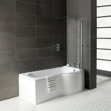 Solar P-Shape 1500mm Shower Bath, Front Panel & Leg Set - Left Hand
