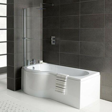 Solar P-Shape 1500mm Shower Bath, Front Panel & Solar Deluxe Screen - Left Hand