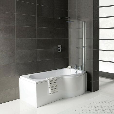 Solar P-Shape 1700mm Shower Bath, Front Panel & Leg Set - Left Hand