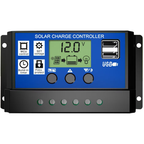 Solar Panel Controller HD LCD Battery Charge Regulator Intelligent Controller