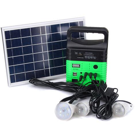 Solar Panel Generator LED Lamp USB Charger Energy System