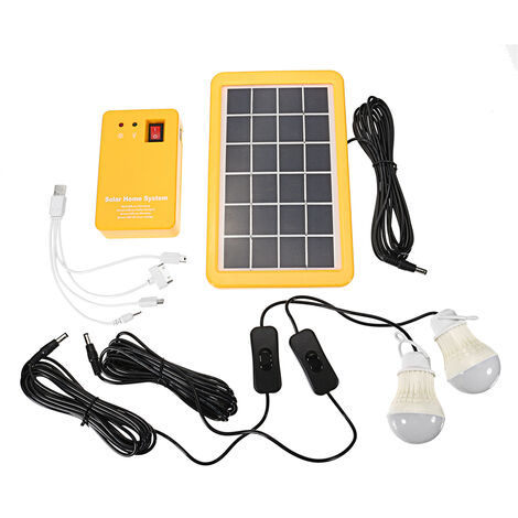 Solar Panel Lighting Kit, Dc Home Solar System Kit, 4 In 1 Solar Charger With 2 LED Bulbs As Emergency Light And Mobile Phone Charger With Outdoor Garden Generator Power Bank, For Camping