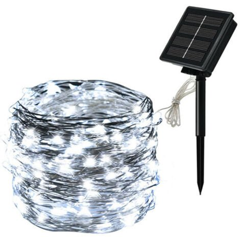 Solar Panel String Light Copper Wire 8 Modes Fairy Lights Waterproof Garden Party Decor