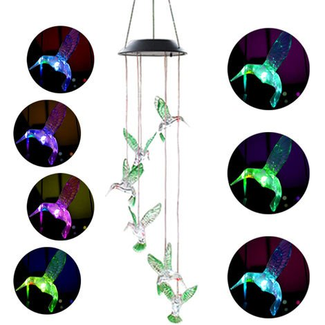 Solar Power Wind Bell Lights for Home Decor (Birds)