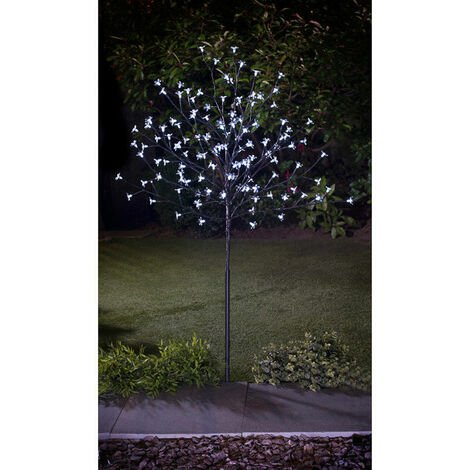 Solar Powered 4Ft 128 Led Blossom White Tree Garden Decor