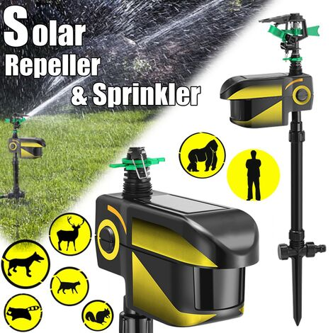 Solar Powered Animal Repellant Charge Infrared Deterrent Automatic Induction Watering Motion Detection Activated Outdoor Repeller Dog Cat Bird Animals Pest Control