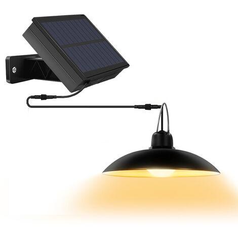 Solar Powered colgantes de la lampara 16 LED colgantes Light Shed nivel 2 ajustable de brillo IP65 interior y exterior de la yarda del jardin Patio Balcon Iluminacion para el hogar, Negro