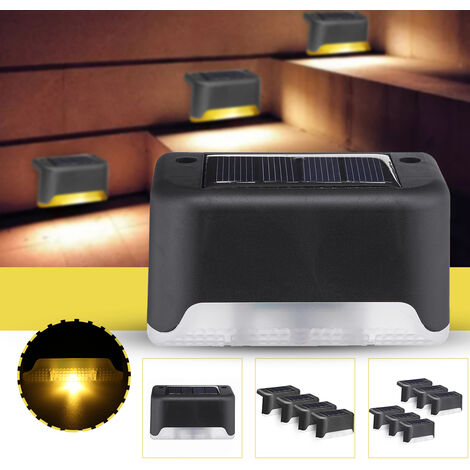 Solar Powered Deck Lights LED Waterproof IP55 Step Wall Lamp warmwhite Pack of 4