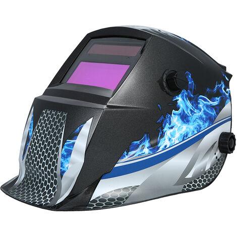 Solar Powered diadema ajustable casco de soldadura de oscurecimiento automatico de la capilla para la mascara de soldadura MIG TIG soldador del arco, Azul
