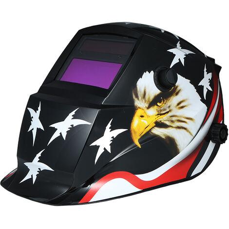 Solar Powered diadema ajustable casco de soldadura de oscurecimiento automatico de la capilla para la soldadura MIG TIG soldador de arco mascara de la mascara de soldadura electrica, blanca