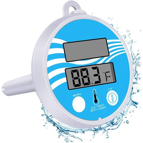 """main image of """"Solar Powered Digital Thermometer Floating Pool Thermometer Easy to Read & Shatter Resistant Thermometer for Outdoor & Indoor Swimming Pools,Hot Tub, Spa, Aquariums &Jacuzzis"""""""