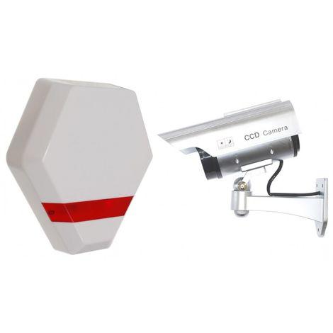 Solar Powered Dummy Compact Alarm Siren & DC2 Solar Dummy CCTV Camera [014-0200]