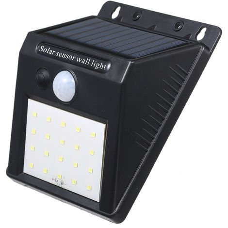 Solar Powered Energy 20 LED Wall Lamp Light Induction/ PIR Motion Hunman Induction Sensor IP65 Water Resistance White