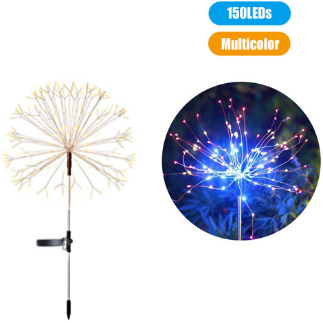 Solar Powered Energy Firework Design Fairy String Light Lawn Lamp with 2 Different Lighting Modes Effects Built-in 600mAh