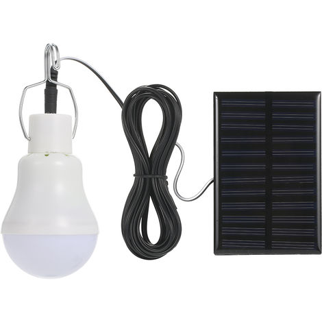 Solar Powered Energy LED Light Bulb with Solar Panel Hanging Design IP44 Water Resistance Portable Rechargeable 800mAh