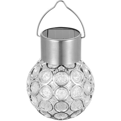 Solar Powered Energy LED Outdoor Lamp Manual & Light 2 Control Modes Hollow-out Spherical Design IP65 Water Resistance, white