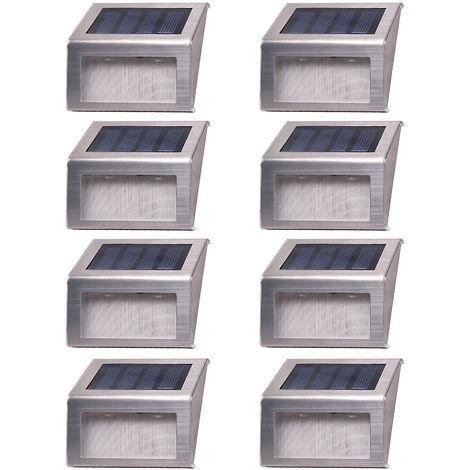 Solar Powered Escalera Paso claro, blanco, paquete de 8