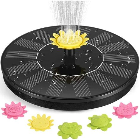 solar powered fountain pump, 2021 upgrade of 1.4W pbre floating floating fountain with 5 nozzles, outdoor watering submersible pump for pond, swimming pool, garden, outdoor